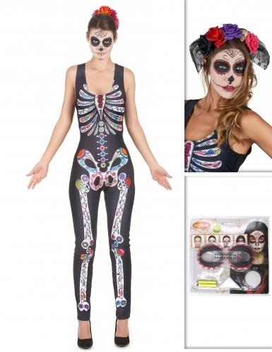 Pack déguisement Dia de los muertos avec coiffe et maquillage Halloween