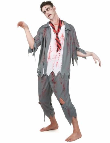 Pack déguisement zombie homme avec faux sang et maquillage Halloween-1