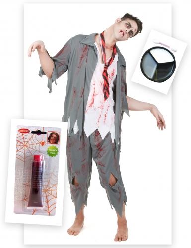 Pack déguisement zombie homme avec faux sang et maquillage Halloween