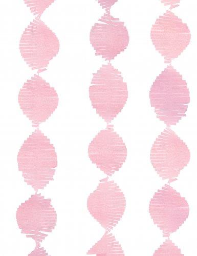 Guirlande à franges en papier rose clair 2,74 m