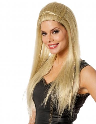 Perruque longue blonde avec petite tresse femme