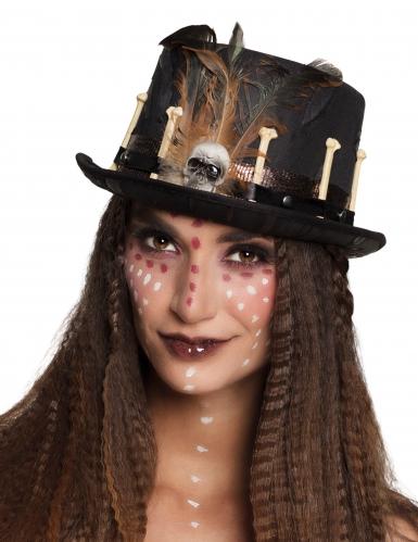 Chapeau haut de forme vaudou noir adulte