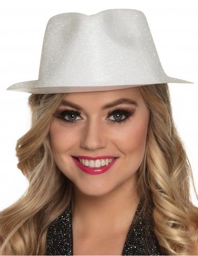 Chapeau pailleté blanc adulte-1