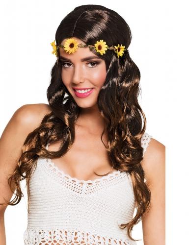 Perruque longue marron avec bandeau fleurs femme