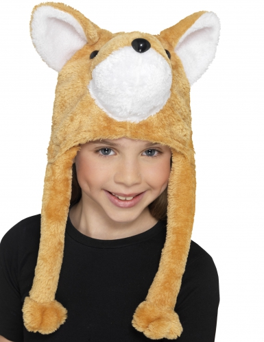 Bonnet en peluche renard enfant-1