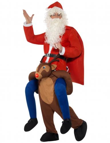 Déguisement Père Noël à dos de renne adulte-1