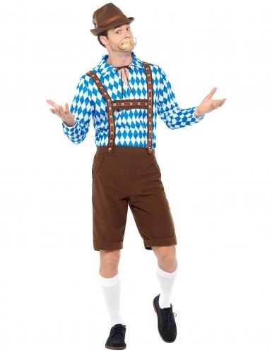 Déguisement bavarois bleu et marron adulte-1