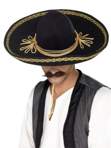 Sombrero noir et or luxe adulte
