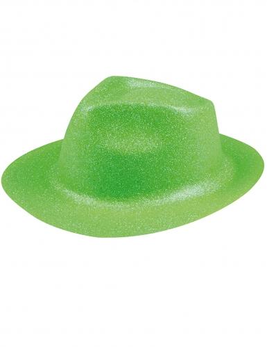 Chapeau pailleté vert fluo adulte