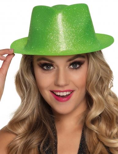 Chapeau pailleté vert fluo adulte-1
