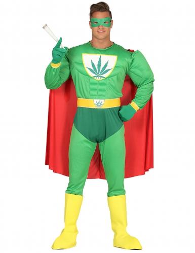Déguisement humoristique super héros feuille de cannabis adulte