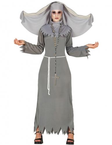 Déguisement religieuse possédée grise femme Halloween