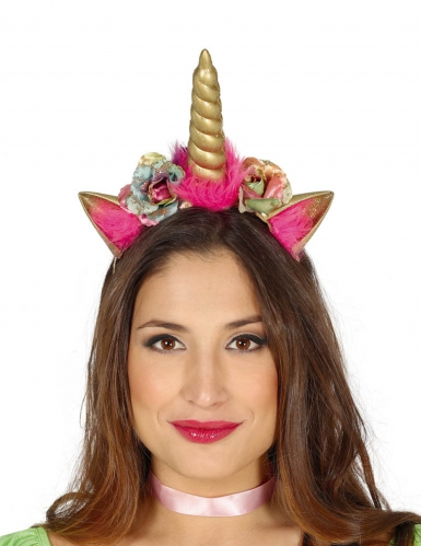 Serre-tête licorne rose/doré adulte