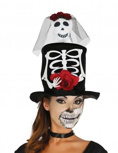 Chapeau haut de forme mariée squelette adulte Halloween