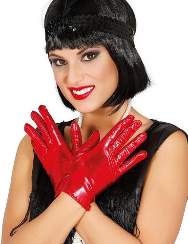 Gants courts métallisés rouge femme