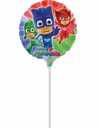 Ballon aluminium gonflé sur tige Pyjamasques ™ 23 cm