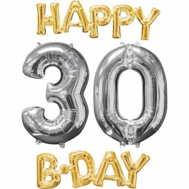 4 Ballons aluminium Happy Bday 30 or et argent