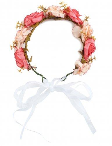 Couronne de roses et fleurs blanches adulte-1