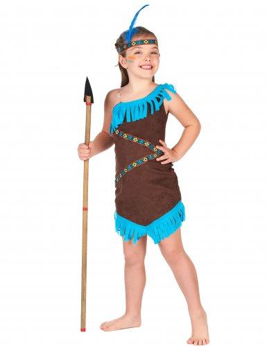 Déguisement indienne marron et bleu fille