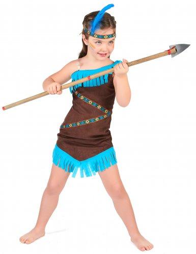 Déguisement indienne marron et bleu fille-1