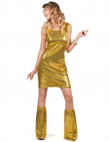 Déguisement Disco doré à sequins femme-1