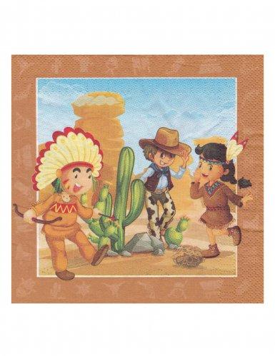 20 Serviettes Cowboy et Indien 33 x 33 cm