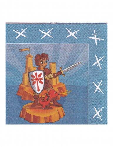 20 Serviettes en papier chevalier 33 x 33 cm
