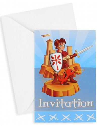 6 Cartons d'invitation avec enveloppes chevalier 10 x 15 cm