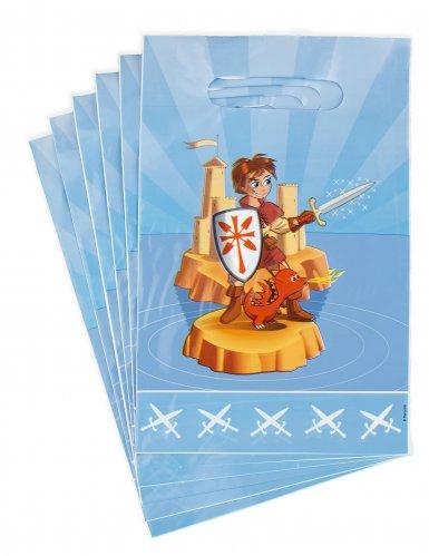 6 Sacs à bonbons en plastique chevalier 15 x 22.5 cm