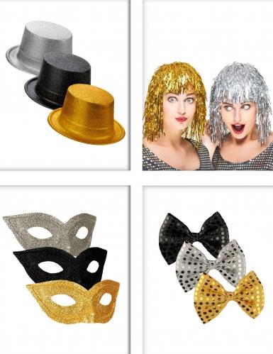 Pack accessoires de fête noir, or et argent