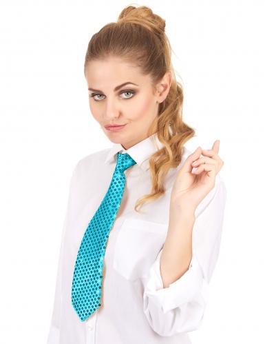 Cravate turquoise avec sequins adulte-1