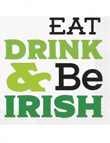 16 Petites serviettes en papier Eat Drink & Be Irish 25 x 25 cm