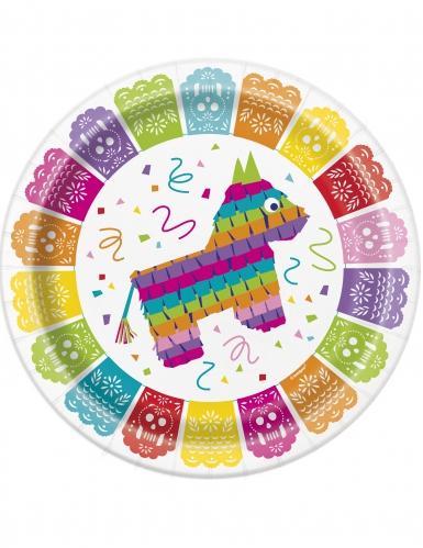 8 Assiettes Fiesta Mexicaine en carton 23 cm