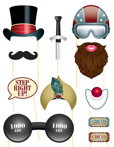 Kit photobooth thème Cirque Vintage 11 accessoires