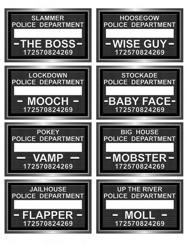 8 Pancartes de prison pour Photobooth