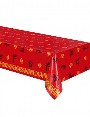 Nappe en plastique Asie rouge 137 x 274 cm