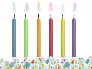 6 Bougies d'anniversaire flamme colorée 6 cm-1
