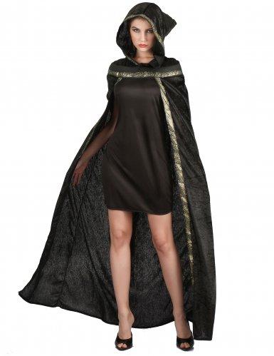 Cape de sorcière longue noire femme