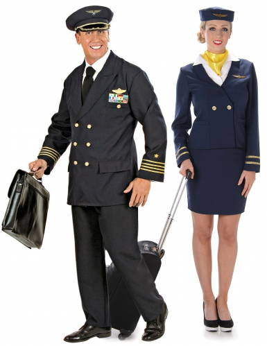 Déguisement de couple adulte pilote et hôtesse de l'air