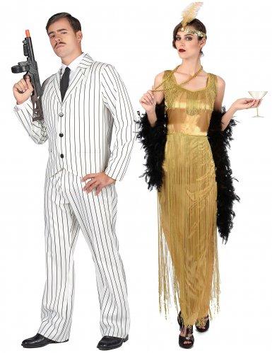 Déguisement de couple gangster blanc et charleston à franges adultes