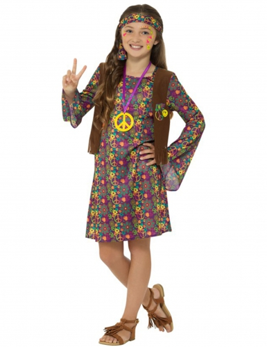 Déguisement hippie peace flower fille