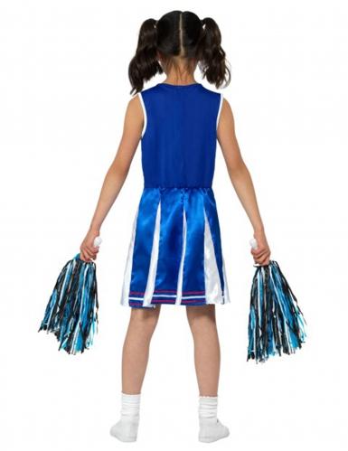 Déguisement pompom girl bleue effet satiné fille-1