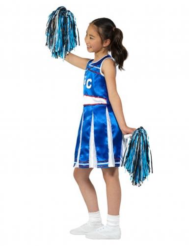 Déguisement pompom girl bleue effet satiné fille-2