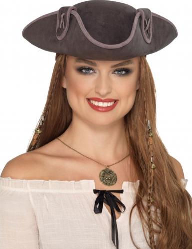 Tricorne pirate gris adulte