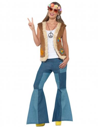 Gilet hippie avec fourrure adulte-3