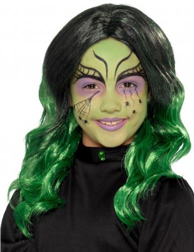 Perruque longue noire et verte enfant