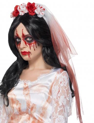 Maquillage Halloween Mariee.Voile Mariee Tache De Sang Adulte Deguise Toi Achat De Accessoires