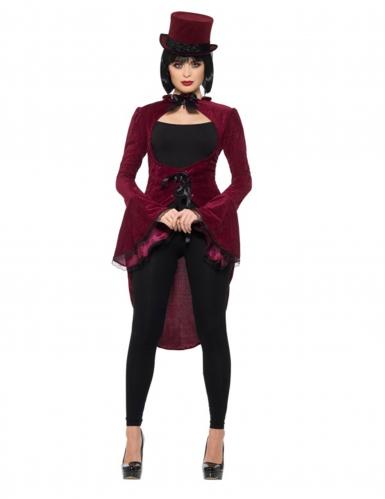 Queue de pie vampire gothique luxe rouge femme-1