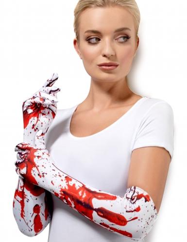 Gants longs blancs tachés de sang adulte
