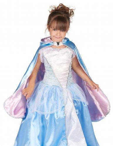 Cape réversible princesse bleue et rose fille